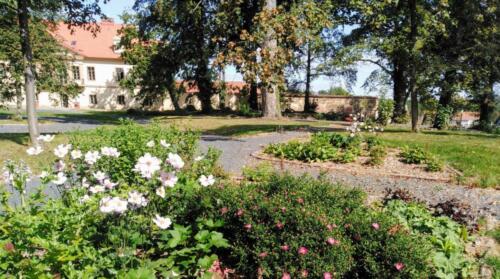 Květinové záhony v parku Drasty